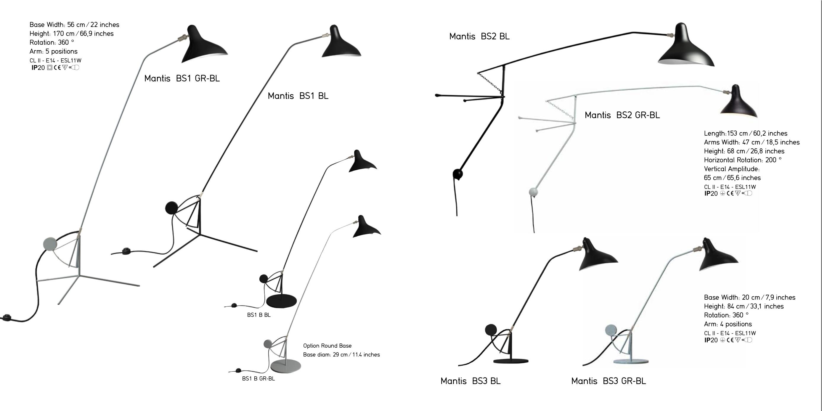 Lampe Mantis BS1, BS2 et BS3 - Bernard Schottlander - DCW